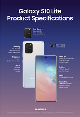 Specification of Samsung Galaxy Note 10 Lite.