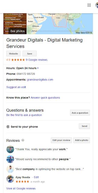 grandeur digitals Google my business page