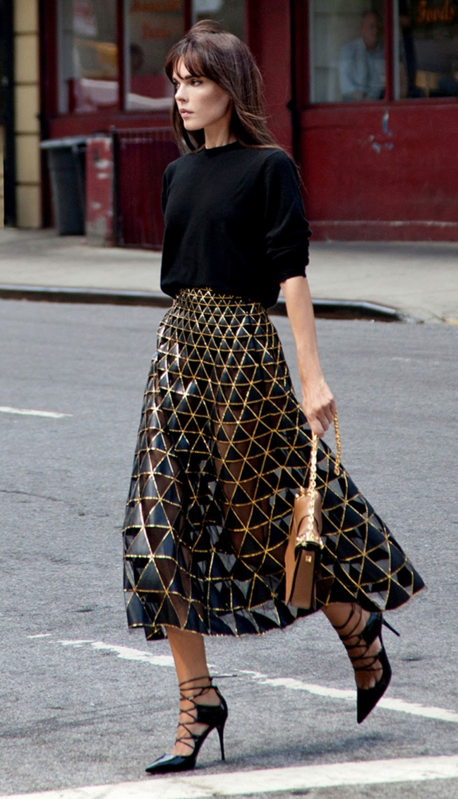 fashion trends / black top + midi skirt + bag + heels