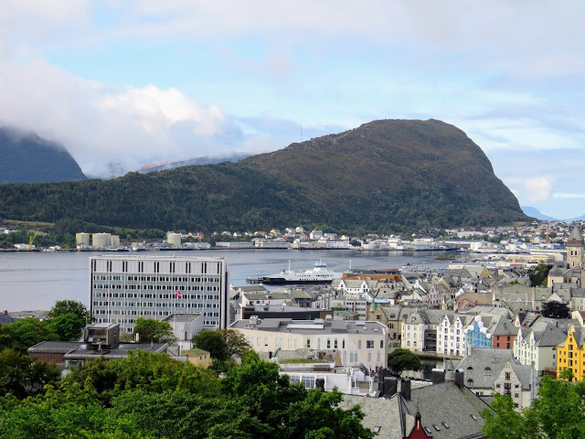 View of Alesund featuring the new city hall which replaced an Art Nouveau mansion
