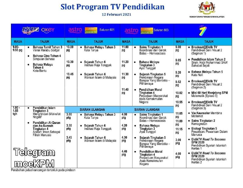Jadual Slot Program TV Pendidikan 12 Februari 2021