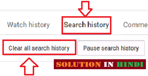 youtube all search history ko delete kaise kare in hindi - www.solutioninhindi.com