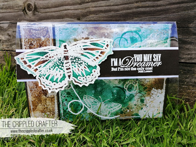 Butterfly Acetate Front Card by Sam Lewis AKA The Crippled Crafter | Distress Ink