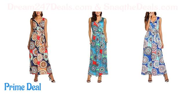 55%OFF SimpleFun Womens Summer Boho Floral Print Wrap V-Neck Sleeveless Long Maxi Dress with Pockets