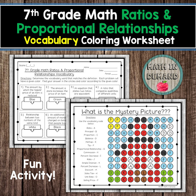 7th Grade Math Vocabulary Ratios & Proportional Relationships