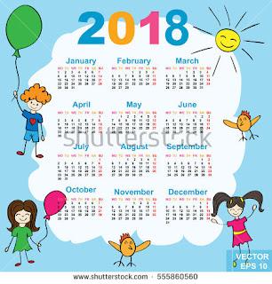 Kalender 2018 Masehi 1439 Hijriyah