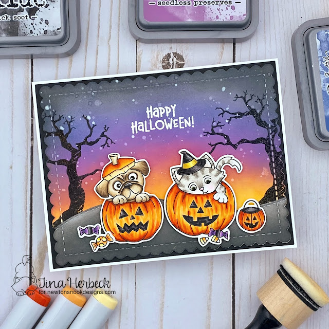 Happy Halloween Cat and Dog Card by Tina Herbeck | Trick or Treat Kittens Stamp Set, Pug Hugs Stamp Set and Spooky Street Stamp Set by Newton's Nook Designs #newtonsnook #handmade