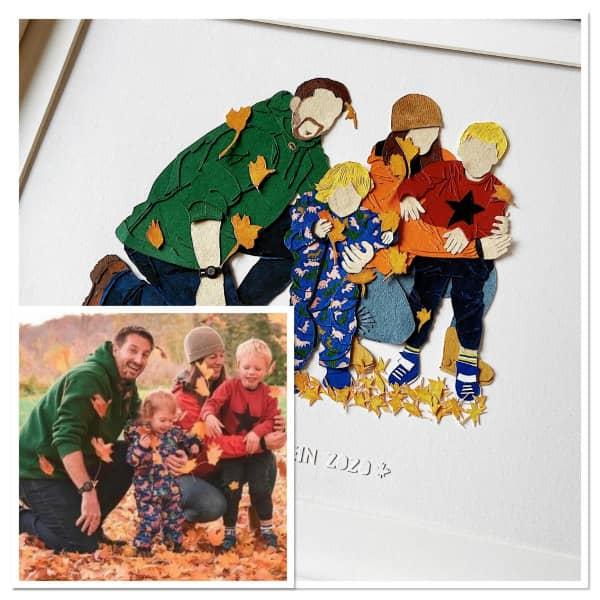 autumn scene, family of four, paper art portrait