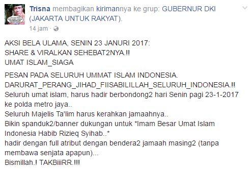 Aksi Bela Ulama Senin 23 Januari 2017