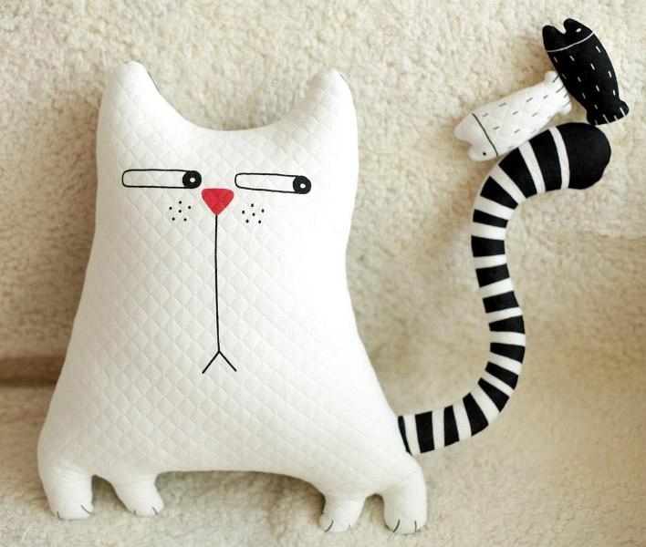 Cat Pillow Cushion. Toy Doll Home Sofa Decoration.  DIY tutorial. Необычная подушка в виде кота, инструкция по шитью