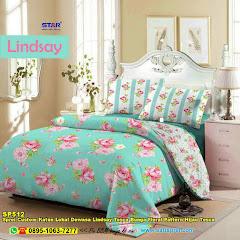 Sprei Custom Katun Lokal Dewasa Lindsay Tosca Bunga Floral Pattern Hijau Tosca