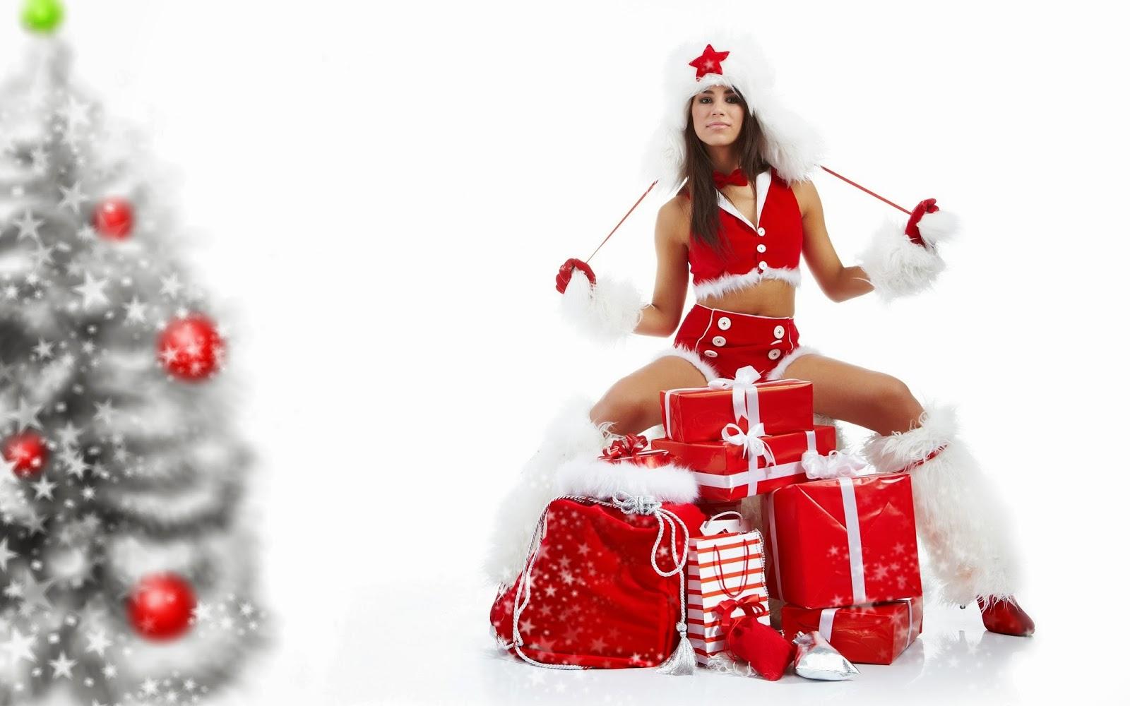 Fondos De Pantalla Hd Navidad 2016: 3 Chicas Vestidas Para Navidad