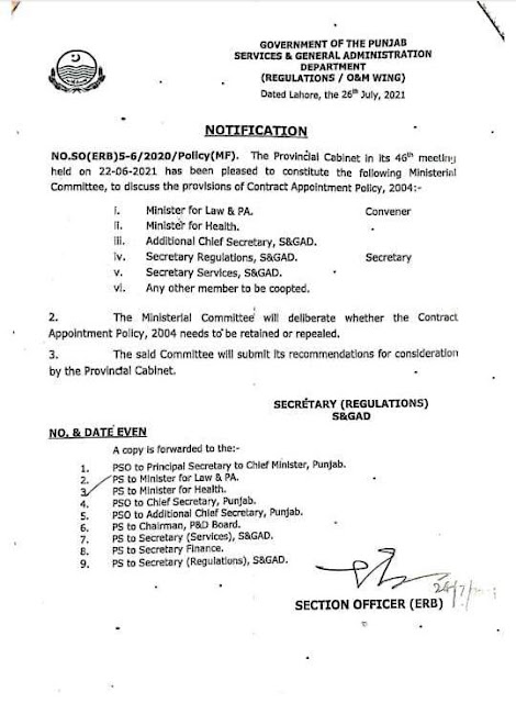 CONSTITUTION OF COMMITTEE TO REVIEW THE CONTRACT APPOINTMENT POLICY 2004