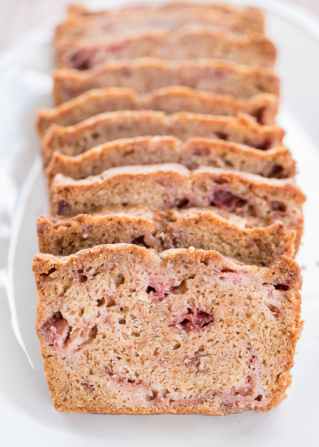 Strawberry Bread - a wonderful way to use up all those yummy summer strawberries. Ready for the oven in minutes! Flour, sugar, baking soda, salt, cinnamon, eggs, oil and strawberries. Freezes well too!