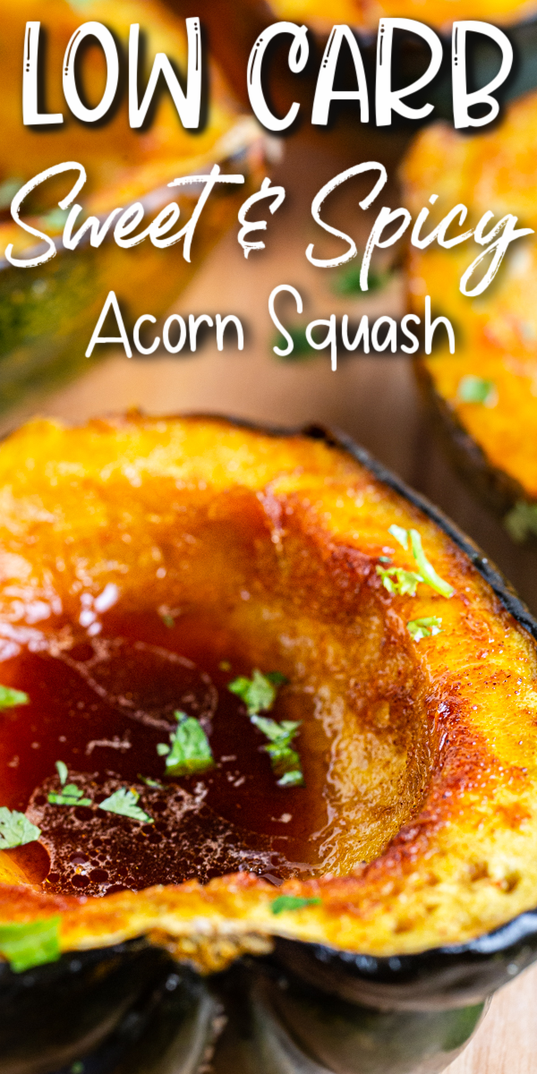 Low Carb Sweet & Spicy Roasted Squash - This sweet and spicy roasted acorn squash is the perfect addition to your low carb winter menu. Easy to make, with very little cleanup, it has just enough sweet, and just enough heat, to keep your taste buds asking for more! #lowcarb #keto #glutenfree #sugarfree #squash #chile #brownsugar | bobbiskozykichen.com