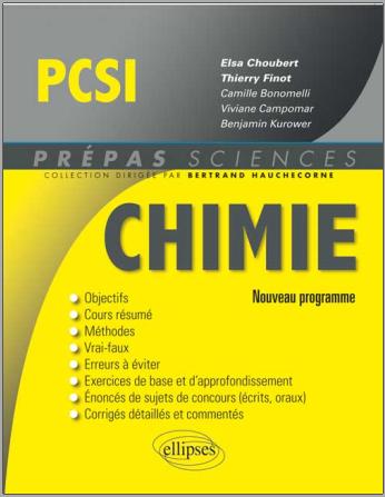 Livre : Chimie PCSI, nouveau programme - Prépas Sciences, editions-ellipses PDF