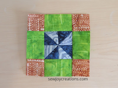 4 inch scrap block mini pinwheel quilt block