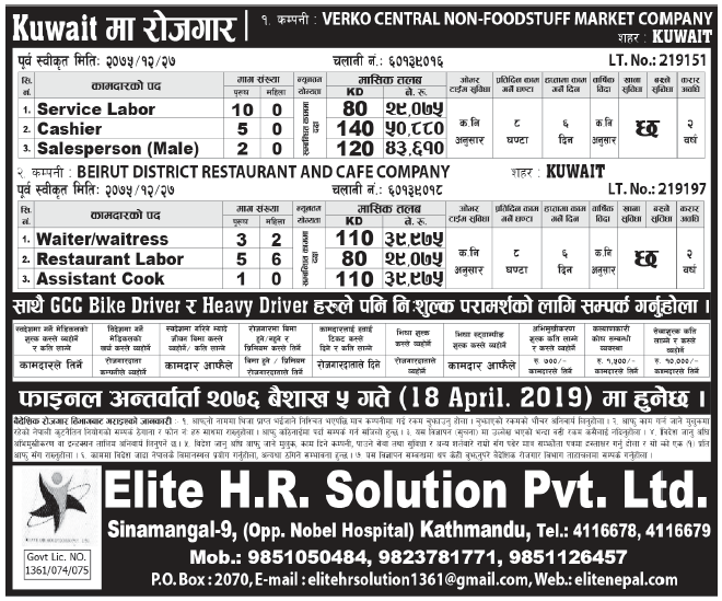 Jobs in Kuwait for Nepali, Salary Rs 50,880