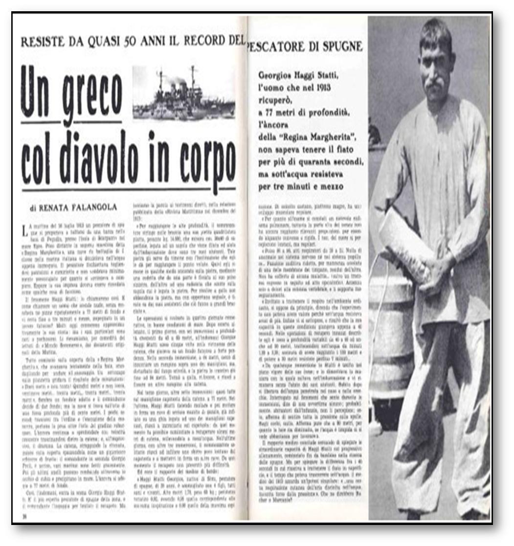 Image result for Πρόκειται για τον Στάθη Χατζή που στις 16 Ιουλίου 1913 πέτυχε το απίστευτο αυτό επίτευγμα αφήνοντας άφωνο όλο τον κόσμο, αφού μπόρεσε να καταδυθεί σε τόσο μεγάλο βάθος και να δέσει τη σπασμένη καδένα στην άγκυρα ενός ιταλικού θωρηκτού στο λιμάνι της Καρπάθου.