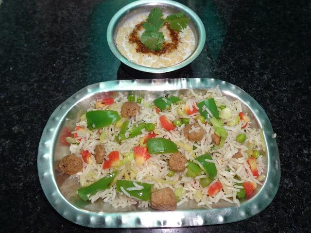 How to make soya pulao - healthy soya chunk pulao