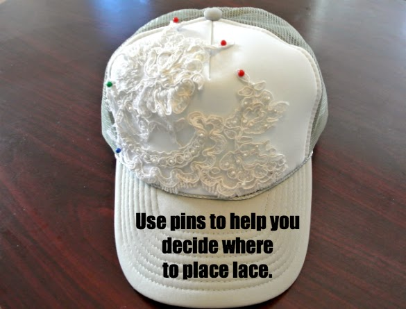 Tutorial on how to embellish a trucker hat with lace.