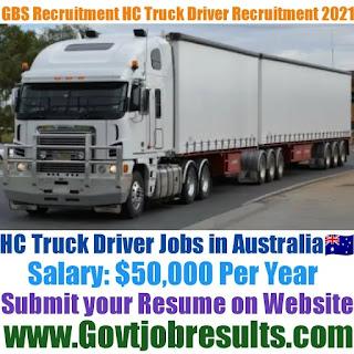 GBS Recruitment HC Truck Driver Recruitment 2021-22