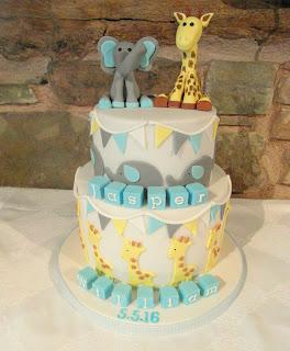 boy christening cake 2 tiers