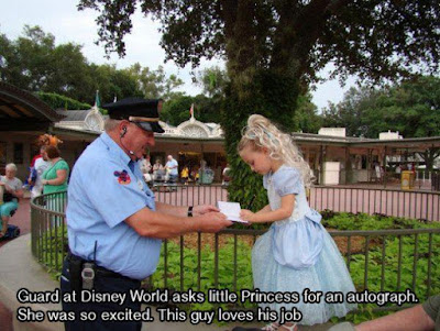 Loving Quotes that Will Restore: Guard at Disney world asks little princess for an autograph. She was so excited. This guy loves his job.