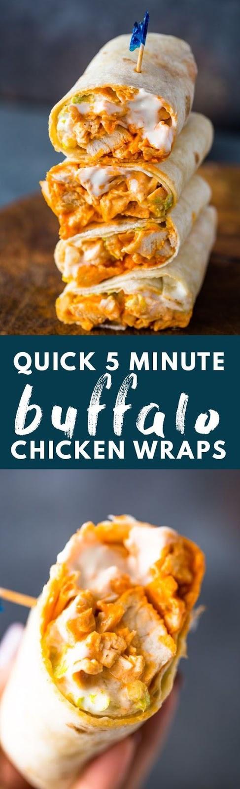 5 MINUTE BUFFALO CHICKEN WRAPS #5minute #Buffalo #chicken #Easyrecipe #Wraps #Dinner #Easydinner #Healthydinner