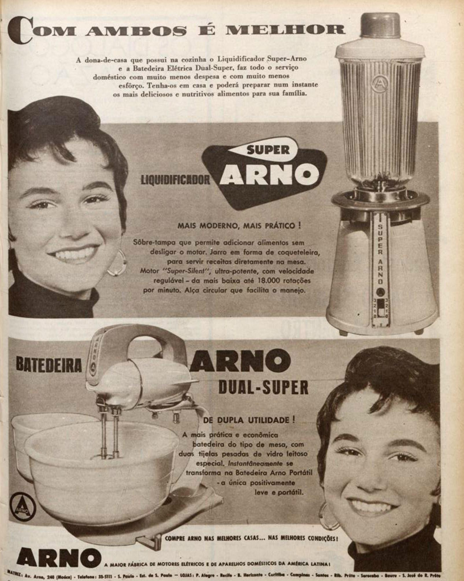 Propaganda antiga da Arno promovendo seu liquidificador e batedeira em 1955