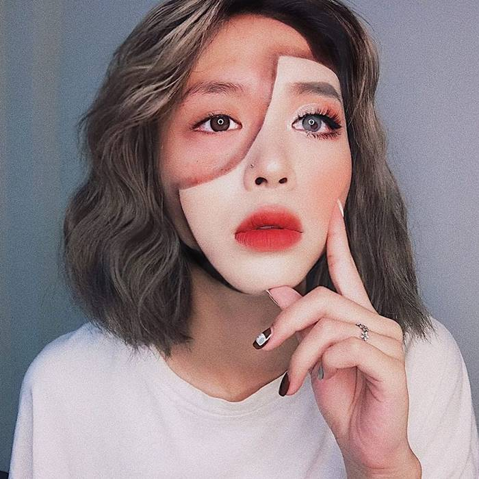 A self-taught artist from Vietnam turns her face and body into amazing optical illusions