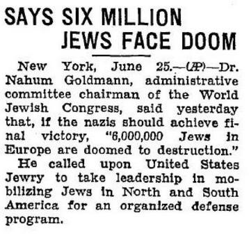 24 June 1940 worldwartwo.filminspector.com 6 million Jews