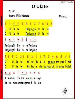 Not Angka Lagu O Ulate - Lagu Daerah Maluku