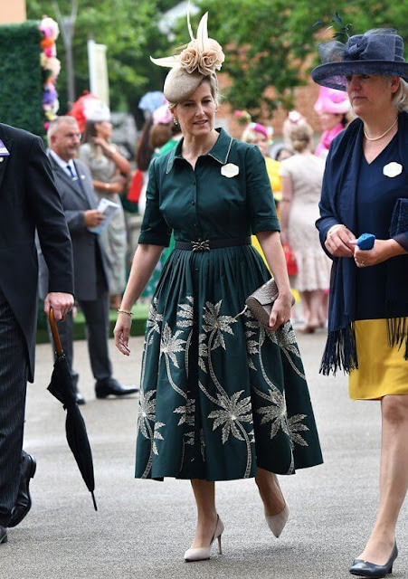 Countess of Wessex wore a new metallic embroidery palm shirt dress by Suzannah. Zara Tindall wore a floral print mini dress by Erdem