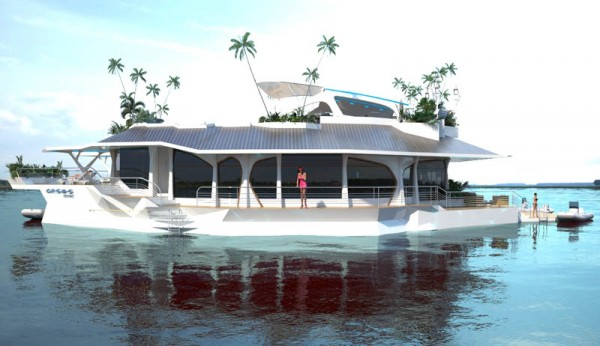 Man made Floating Island boat