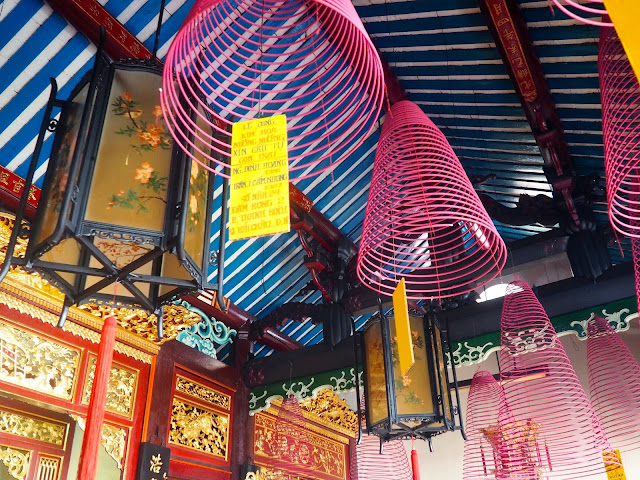 Incense coils and lanterns in Phuoc Kien pagoda, Hoi An, Vietnam