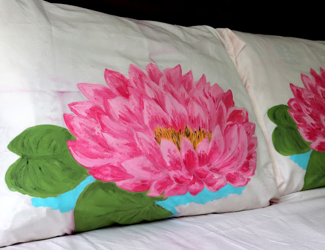 fabric paint water lily flower