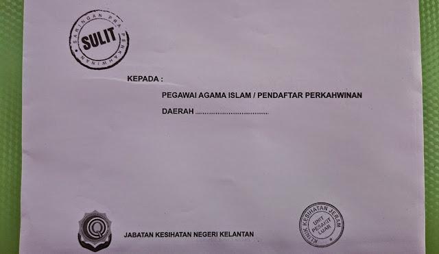 Sampul surat keputusan ujian saringan HIV