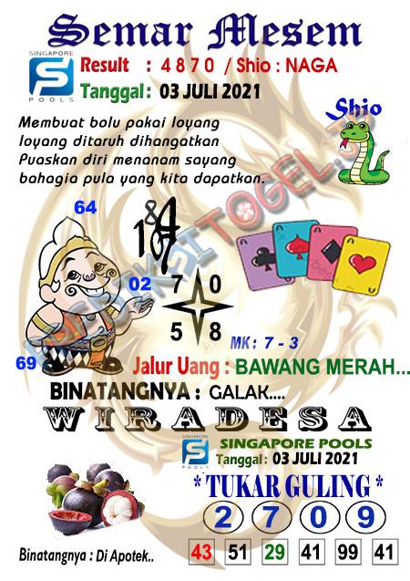 Syair Semar Mesem SGP Sabtu 03-07-2021