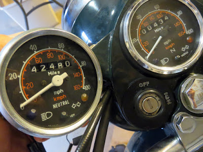 Original and replacement Royal Enfield speedometers.