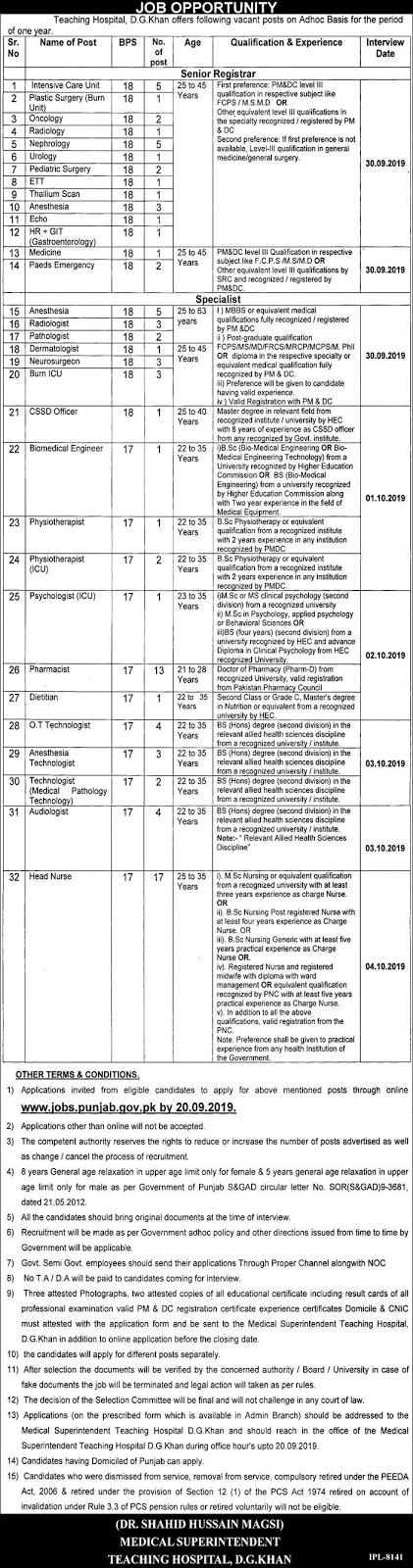 Advertisement for DG Khan Teaching Hospital Jobs