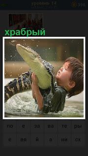 в воде мальчик борется с крокодилом, схватив его руками