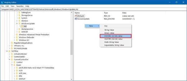 create_noautoupdate_windows_10_regedit