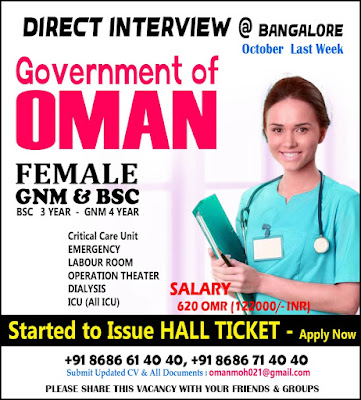 Staff Nurses for Oman Government Direct Interview