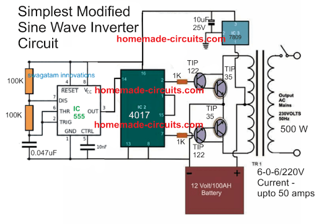 simplest modified sinewave inverter circuit using IC 4017 and IC 555