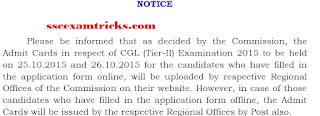 Admit card Notice for SSC CGL Tier 2 Exam 2015