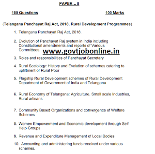 Paper 2 Exam Syllabus for TSPRI Panchayat Secretary Recruitment Exam: