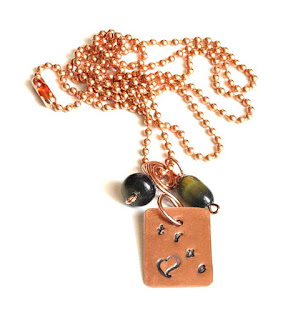 Love Necklace, Hand Stamped Copper Pendant Necklace