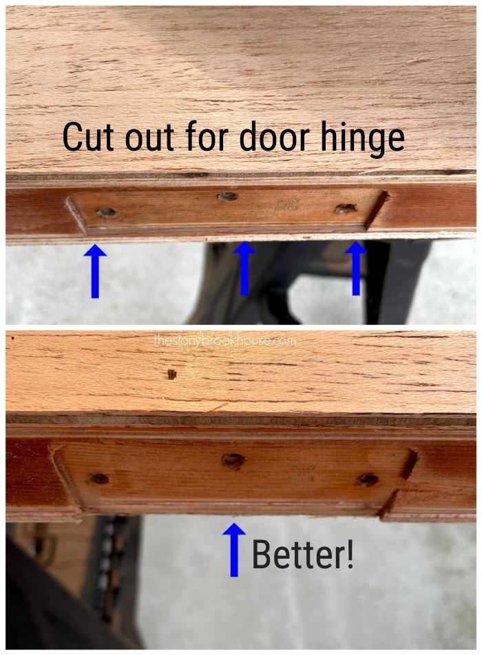 Cut excess wood out from door hinge