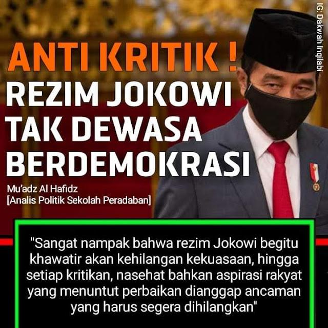 Banyak pihak yang menyayangkan sikap represif yang ditunjukkan oleh rezim Jokowi. Sikap anti kritik ditunjukkan dengan menabrak hak konstitusi warga negara